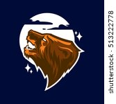 grizzly bear head logo mascot... | Shutterstock .eps vector #513222778