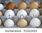 A conceptual image of IOU in the egg carton. - stock photo
