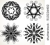 set of ornate lacy doodle... | Shutterstock .eps vector #513226402