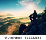 hiker man take a rest on... | Shutterstock . vector #513233866