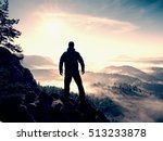 hiker stand at heather bush on... | Shutterstock . vector #513233878