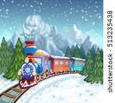 colorful train with gray smoke... | Shutterstock . vector #513235438