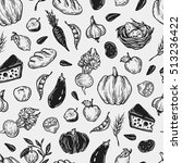 kitchen seamless pattern.... | Shutterstock .eps vector #513236422