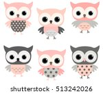 Cute Pink And Grey Cartoon Owl...