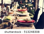 christmas family dinner table... | Shutterstock . vector #513248308