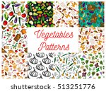 vegetables patterns set. vector ... | Shutterstock .eps vector #513251776