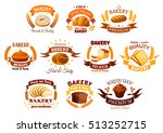bakery shop icons of bread and... | Shutterstock .eps vector #513252715