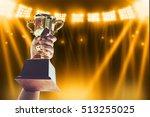 win concept man holding up a...   Shutterstock . vector #513255025