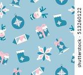 christmas seamless pattern on... | Shutterstock .eps vector #513260122