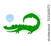 cartoon crocodile flat mascot...
