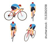 racing cyclist in action set.... | Shutterstock .eps vector #513282058