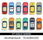cars top view flat city vehicle ... | Shutterstock . vector #513283102