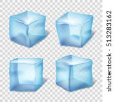 transparent blue ice cubes in... | Shutterstock . vector #513283162