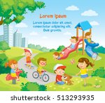 children playing outside | Shutterstock .eps vector #513293935