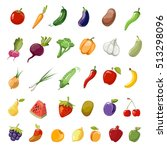 cartoon fruit and vegetables... | Shutterstock . vector #513298096