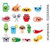 kawaii cute food characters  ... | Shutterstock .eps vector #513333346