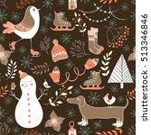 vector winter seamless pattern... | Shutterstock .eps vector #513346846
