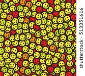 emoticons seamless pattern.... | Shutterstock .eps vector #513351616