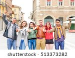 multicultural group of friends... | Shutterstock . vector #513373282