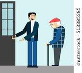 good manners. man open the door ... | Shutterstock .eps vector #513385285