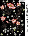 embroidery ethnic flowers neck... | Shutterstock .eps vector #513441976