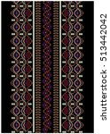 embroidery ethnic flowers neck... | Shutterstock .eps vector #513442042