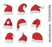 just red christmas santa hat at ... | Shutterstock .eps vector #513444256