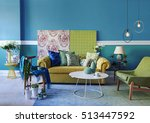 turquoise wall living room ... | Shutterstock . vector #513447592