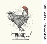 Rooster In Graphic Style  Hand...