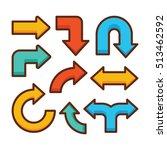 arrow sign icon set  linear...   Shutterstock .eps vector #513462592