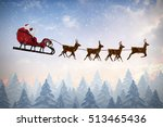 side view of santa claus riding ... | Shutterstock . vector #513465436