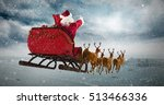 santa claus riding on sleigh... | Shutterstock . vector #513466336