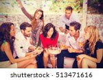 woman blowing birthday candles... | Shutterstock . vector #513471616