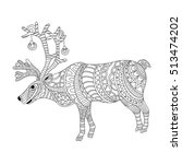 reindeer coloring page in... | Shutterstock .eps vector #513474202