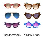 glasses colorful vector set...