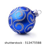 Blue Christmas Ball With Silve...