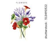 bouquet of flowers  watercolor  ... | Shutterstock . vector #513493522