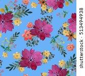 romantic floral seamless... | Shutterstock . vector #513494938