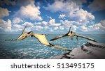 Flying Pterodactyl Over The...