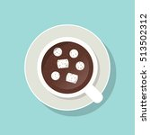 cup of cacao with marshmallows... | Shutterstock .eps vector #513502312