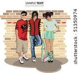 emo friends. grunge background | Shutterstock .eps vector #51350974