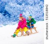 little girl and boy enjoy a... | Shutterstock . vector #513518842