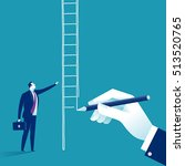 way up. hand draw ladder for a... | Shutterstock .eps vector #513520765