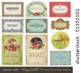 vector set  vintage labels set... | Shutterstock .eps vector #51352102
