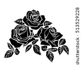silhouettes of rose isolated on ... | Shutterstock .eps vector #513529228