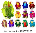 vector cocktails set isolated ... | Shutterstock .eps vector #513572125