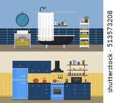 kitchen interior and bathroom... | Shutterstock .eps vector #513573208