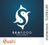 fish symbol. fresh seafood logo ... | Shutterstock .eps vector #513581185