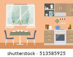 kitchen in an orange color.... | Shutterstock .eps vector #513585925