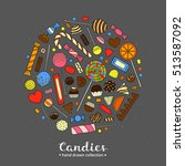 hand drawn colorful candies... | Shutterstock .eps vector #513587092
